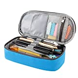 RAGZAN Pencil Case Big Capacity Pen Pouch, Stationery Bag Holder School Supplies for Primary Middle High School College and Office, Idea Gift for Teens Student Adult - Blue
