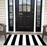 USTIDE 100% Cotton Striped Area Rug Black&White Stripe Cotton Indoor Outdoor Rug Runner Rugs for Kitchen/Living Room/Entry Way/Laundry Room/Bedroom 27.5'X43.3'