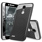 TJS Case for LG Aristo 2/Aristo 2 Plus/Aristo 3/Aristo 3 Plus/Tribute Dynasty/Tribute Empire/Fortune 2/Rebel 3 LTE [Full Coverage Tempered Glass Screen Protector] Metal Carbon Fiber Phone (Black)