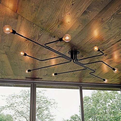 Edison Industriel 8 Lumières Plafonnier Semi-Encastré Vintage Grande Lampe De Plafonnier Lustre Noir En Fer Forgé