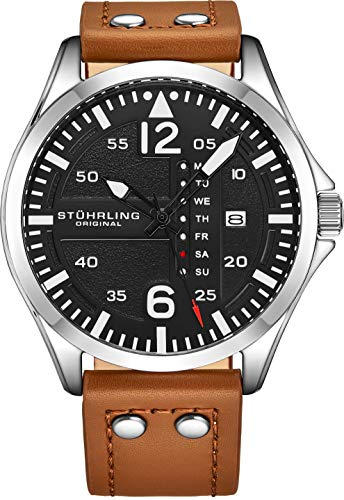 Stuhrling Original Herren Analog Sport Aviator Uhr, Quick-Set Day-Date, Lässiges Lederband (Brown)