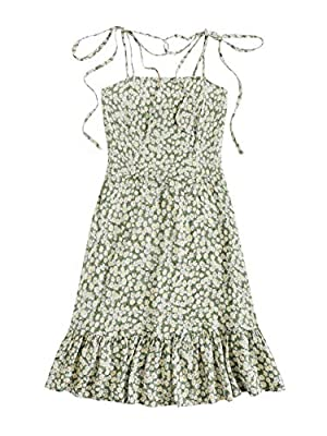 100% rayon, fabric touches comfortable and breathable Design with knot shoulder, sleeveless, floral print, spaghetti strap, floral print, casual beach style, ruffle hem, side zipper Unique style, create stunning curves, suit for casual wear or dress ...