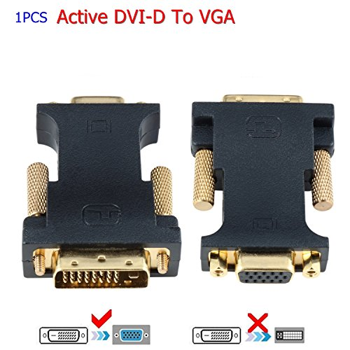 DVI to VGA, CableDeconn Active DVI D 24+1 to VGA With Chip Adattatore Convertitore Cavo for PC DVD Monitor HDTV