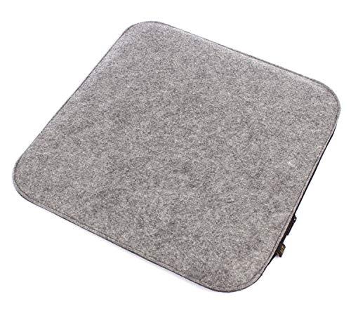 Filz Sitzkissen in Graumeliert/dunkelgrau zum Wenden, waschbare Stuhlauflage mit Füllung inkl. Reissverschluss. Sitzauflage für Bank und Stuhl, Sitzpolster/Filzauflage weich gepolstert.
