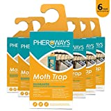 Pheroways Clothes Moth Traps, Safe Moth Traps for Closet Clothing and Carpet Moth Traps, Effective Guaranteed (6 Pack)