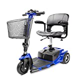 Furgle 3 Wheel Mobility Scooter Electric Power Mobile Wheelchair for Seniors Adult - Collapsible and Compact Duty Travel Scooter w/Basket and Long Range Power Extended Battery (Black)