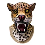 Realistic Animal Wild Cat Leopard Latex Mask Full Head and Neck Halloween Party Fancy Dress Carnival Props