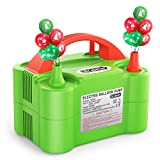 Dr.meter Balloon Pump, 110V 600W Portable Christmas Decorations Electric Air Balloons Pump with Dual Nozzle Blower/Inflator for Party Decoration/Halloween/Wedding/Birthday/Sport/Christmas, Green