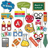 Back To School Photo Booth Props Kit - 25 Count First Day of School Decorations - Fun Props Party Supplies for School Kids or Adults