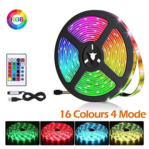 BACKTURE Striscia LED Multicolore, 2M 60 LED RGB 5050 TV LED Retroilluminazione con Telecomando, Striscia Luminosa a LED con 16 Colori & 4 modalit Adatto per TV da 40-60 Pollici
