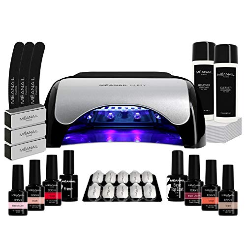 Kit Semipermanente Unghie Professionale Set Manicure Completo 6 Smalti Primer Base Top Coat Lampada UV Led 48W Remover Colori Semi Permanenti Gel Polish Nail Art KIT RUBY MEANAIL