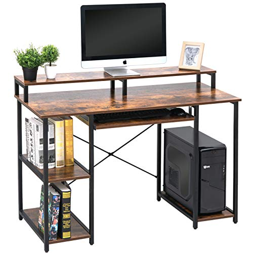 TOPSKY Computer Desk with Storage Shelves/Keyboard Tray/Monitor Stand...