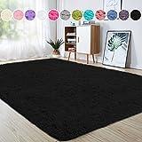 junovo Ultra Soft Area Rugs 4 x 5.3ft Fluffy Carpets for Bedroom Kids Girls Boys Baby Living Room Shaggy Floor Nursery Rug Home Decor Mats, Black
