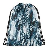 Sanme Bolsas de Mochilas con cordón, patrón de Naturaleza Inusual de Piedras Preciosas de Roca de ónix con Efectos de Pincel Vintage