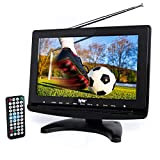 "Tyler TTV706 10"" Portable Widescreen 1080P LCD TV with Detachable Antennas, HDMI, USB, RCA, FM Radio, Built in Digital Tuner, AV Inputs, AC/DC, (3) Antennas, and Remote Control"