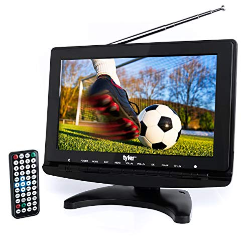 Tyler TTV706 10 Portable Widescreen 1080P LCD TV with Detachable Antennas, HDMI, USB, RCA, FM Radio, Built in Digital Tuner, AV Inputs, AC/DC, (3) Antennas, and Remote Control