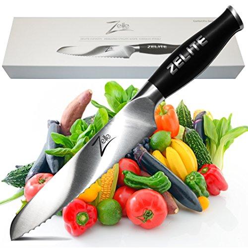 Zelite Infinity Serrated Utility Knife 6 Inch - Comfort-Pro Series - German High Carbon Stainless Steel - Razor Sharp, Super Comfortable