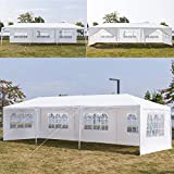 XXFBag Outdoor Wedding Party Tent,10x30 FT White Gazebo Canopy Tent,Camping Shelter Heavy Duty Grill Gazebo Pavilion,Large Commercial BBQ Patio Tent