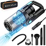 Baucatlan Car Vacuum with Powerful Suction, Portable Car Vacuum Cleaner with 16.4 Ft Corded, 12V/150W/7500PA, Car Cleaning Kit with Three Layer HEPA Filter for Deep Cleaning