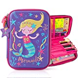 Mermaid Pencil Case for Girls, 3D Cute EVA Mermaid Pen Pouch Stationery Box Anti-Shock Large Capacity Multi-Compartment for School Students Teens Kids Girls Boys
