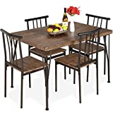 Best Choice Products 5-Piece Metal and Wood Indoor Modern Rectangular Dining Table Furniture Set for Kitchen, Dining Room, Dinette, Breakfast Nook w/ 4 Chairs - Drift Brown