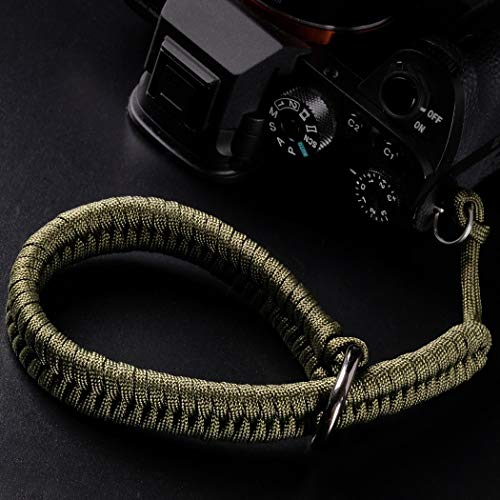 Camera Wrist Strap (550 Paracord/Green) Higher-end and Safer Adjustable Camera Lanyard Wrist, Suitable for Nikon/Canon/Sony/Panasonic/Fujifilm/Olympus DSLR or Mirrorless Cameras Hand Strap