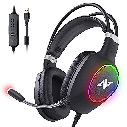 ABKONCORE Gaming Headset with Noise-cancelling Microphone, Lightweight PS4 Headset with 50mm Speaker Driver, Cool RGB LED Light, Gaming Headphone with Pressure-Relieving Ear Cushion for PS4,PCLaptop