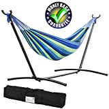 Hammock and Stand Heavy Duty Portable Solid Steel Stand with Carrying Case Adjustable 9Ft Indoor-Outdoor 2 Person Large Weather Resistant Hammock Stands for Backyard Decor Bed Patio Lawn Garde, Blue