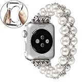 fastgo Compatible with Apple Watch Band 38mm 40mm,Women Girls Fancy Handpicked Artificial Pearl Elastic Stretch Bracelet Jewelry Wristband Compatible for Iwatch Series 5/4/3/2/1(Pure White, 38mm/40mm)