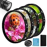 Kit filtro close-up, Fotover 4pezzi (+ 1, + 2, + 4, + 10) Filtro macro di...
