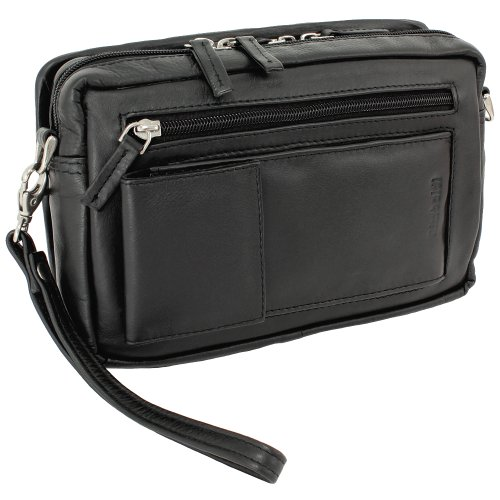 Ledershop24 Herren Handgelenktasche Business Tasche mit Smartphonefach aus feinem Nappaleder in Schwarz