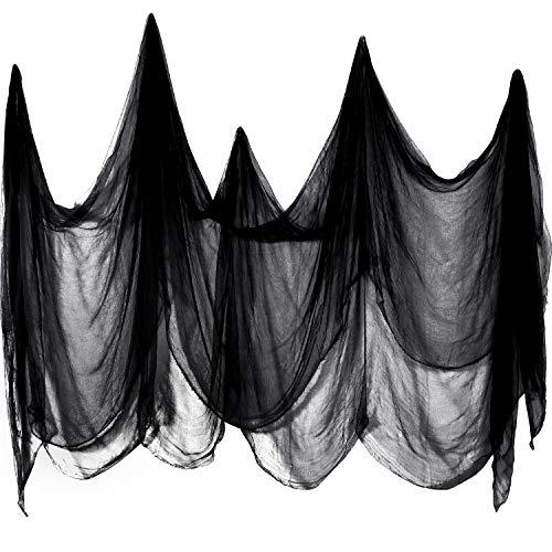 Boao Tela Espeluznante Tela de Queso Espeluznante Paños de Muselina de Algodón Decoraciones de Halloween para Casas Embrujadas Fiestas Puertas Exterior (Negro, 215 x 500 cm)