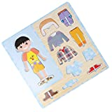 1 Set Wooden Boy Dressing Up Clothes Puzzles Kids Matching Pretend Play Toy
