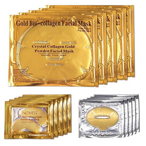 ALIVER 24k Maschera per il viso al collagene d'oro, Maschera per gli occhi con polvere d'oro e Maschera per le labbra (5 set/confezione)