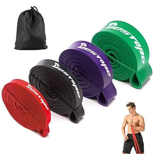 Bestope - Set di Bande Elastiche Fitness 4 bande Fasce Elastiche Fitness per Yoga,Pilates, Lunges,Stretching,Allenamento di Forza, 5 colori combinano diversi potenti.15lbs-135lbs