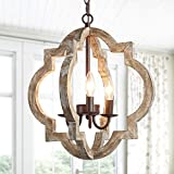 KSANA Farmhouse Orb Chandelier Handmade Wood Light Fixture for Dining & Living Room, Foyer, Bedroom, Kitchen Island and Entryway, Bronze