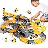 Juego de carreras, vehículos de construcción, trenes flexibles con camiones...