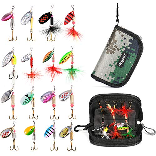 Magreel 16pcs Spinnerbait, Bass Trout Salmon Fishing Lures, Hard Metal Spinner Baits with a Tackle Bag