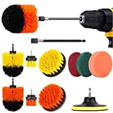 Herrfilk Drill Brush Attachment Set-12 Pieces Power Scrubber Brush for Kitchen and Bathroom Surfaces Tub, Grout, Tiles, Sinks, Wheels, Corners and Auto