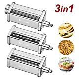 Pasta Maker Attachments Set fits KitchenAid Stand Mixers,with 1 Roller 2 Cutter Stainless Steel Accessory by Hozodo