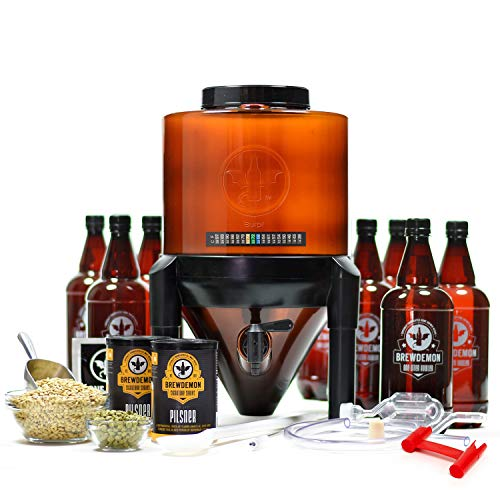 BrewDemon Craft Beer Brewing Kit Signature Pro with Bottles - Conical Fermenter Eliminates Sediment and Makes Great Tasting Home Brewed Beer - 2 gallon Pilsner