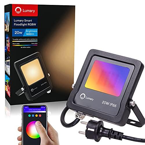 Lumary Focos LED Exterior RGBW - Foco LED 20W Foco LED Exterior Inteligente Colores IP66 Control WiFi&Bluetooth Focos LED Sincronización de Música 16 Millones Colores Compatible Alexa/Google Home