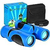 QTECLOR Compact Mini Binoculars for Kids – 8x21 Zoom Kids Binoculars Toy Gift Shock Proof for 3 4 5 6 7 8 9 10 11 12 13 Years Old Boys Girls Bird Watching Sporting Events Children Best Present (Blue)