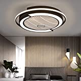 Ceiling Fan with Light Kit,23 Inch Modern LED Remote Control Semi Flush Mount Fandelier with Invisible Acrylic Blades,3 Colors 3 Speeds Changing,Enclosed Low Profile Fan (Black)