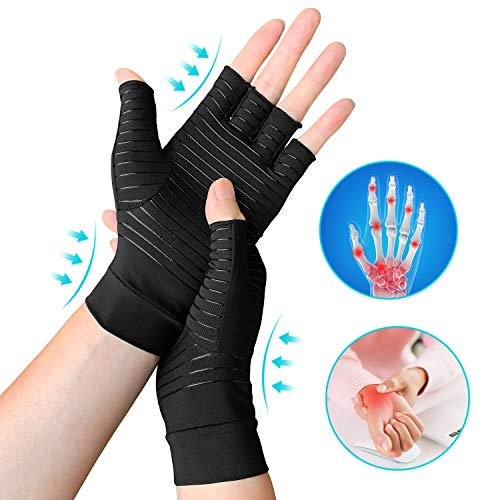 Copper Arthritis Gloves, Compression Fingerless Gloves for Arthritis & Hand Pain Relief & Daily Work, Everyday Support for Women & Men (X-Large)