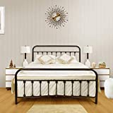 Ambee21 Vintage Full Metal Bed Frame with Headboard and Footboard – Platform/Wrought Iron/Heavy Duty/Solid Sturdy Metal Slat/Rustic Brown/No Box Spring Needed/Mattress Foundation