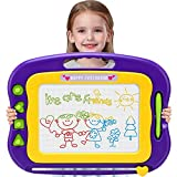 Wellchild Magnetic Drawing Board for Toddlers,Toddler Toys for 3 4 5 6 7 Year Old Girls Boys Gifts Large Magna Colorful Erasable Doodle Pad with One Carry Bag