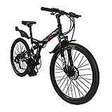 Xspec 26' 21-Speed Folding Mountain Bike for Adult, Shimano Black, 26'