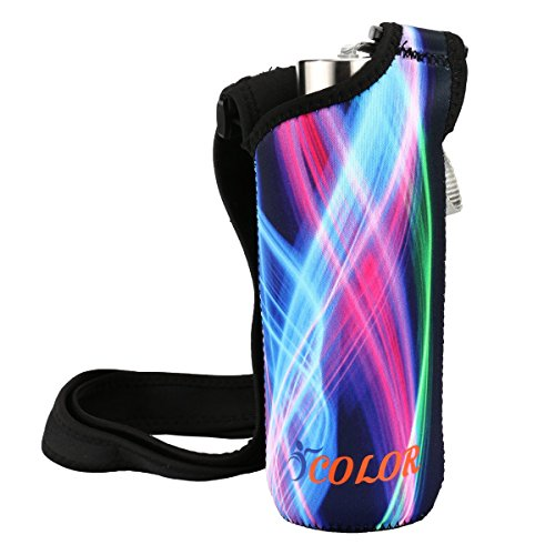 ICOLOR Water Bottle Carrier,Wide Mouth Water Bottle Holder Kids Sport Water Bottle Pouch Shoulder Sleeve Bag Cover Fit Stainless Steel & Plastic Bottle Diameter Less Than 3'