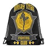 LREFON Muay Thai Tiger Fighting Club - Tailandia Holy Fighters Mochila con cordón Paquete de Saco de Gimnasio Paquete de cincho sólido Saco de Lona Bolsa de Deporte